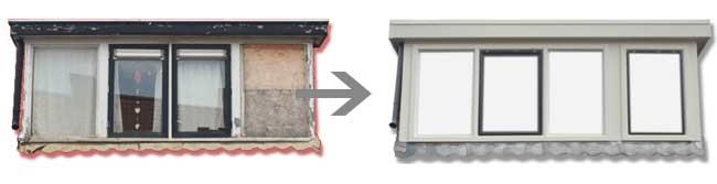Dakkapel renovatie voor en na